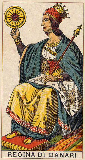 regina denari -  Tarocchi Arcani minori - www.animamceleste.it